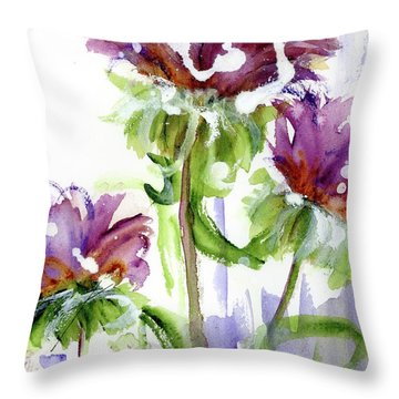 Throw Pillow featuring the painting Purple Wildflowers by Dawn Derman
