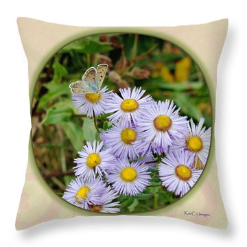 Purplish Copper On Wild Asters Throw Pillow by Kae Cheatham