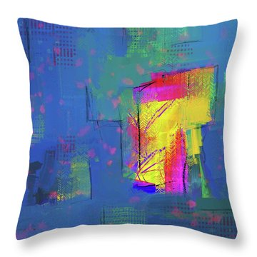 Throw Pillow featuring the mixed media Purplish Rain by Eduardo Tavares