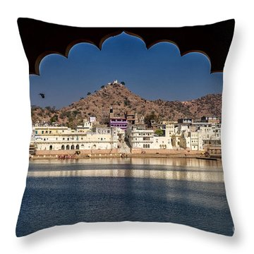 Throw Pillow featuring the photograph Pushkar Lake by Yew Kwang