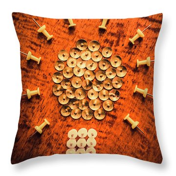 Pushpins Arranged In Light Bulb Icon Throw Pillow