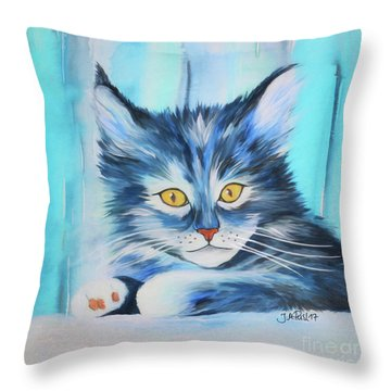 Throw Pillow featuring the painting Pussy Cat by Jutta Maria Pusl