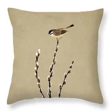 Pussy Willow And Chickadee Throw Pillow