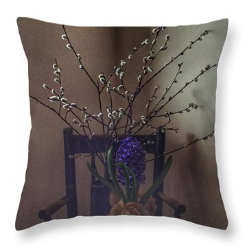 Pussy Willow And Hyacinth Still Life Throw Pillow