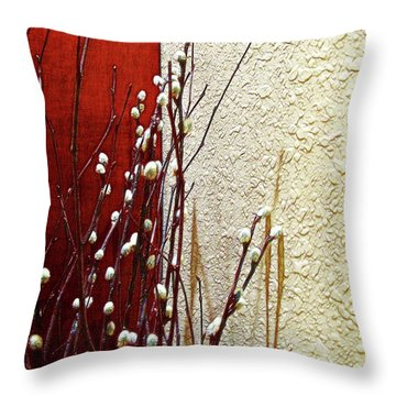 Pussy Willow Corner Throw Pillow by Joan  Minchak