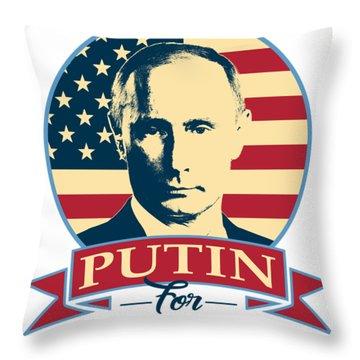 Putin For President American Banner Pop Art Throw Pillow