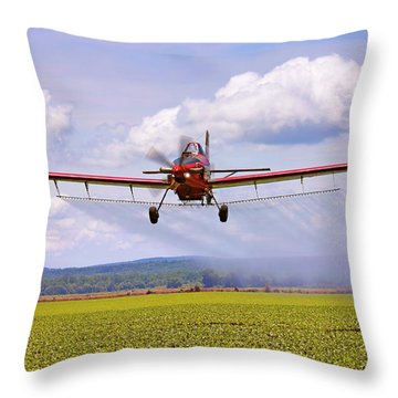 Putting It Down - Ag Pilot - Crop Duster Throw Pillow by Jason Politte