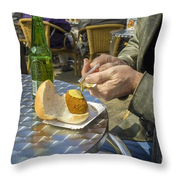 Putting Musterd On A Meat Croquette Throw Pillow