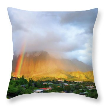 Puu Alii With Rainbow Throw Pillow