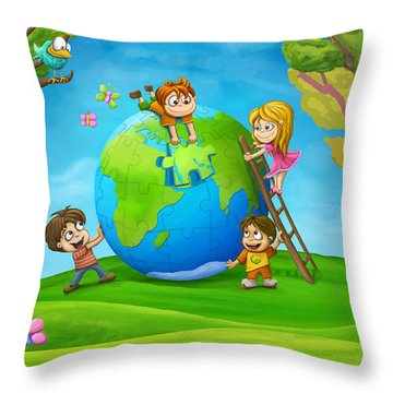 Puzzle World Throw Pillow