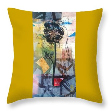 Puzzled Floral Throw Pillow by Cynthia Lagoudakis