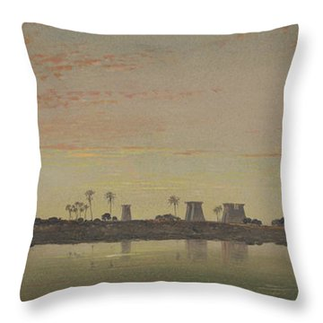 Pylons At Karnak, The Theban Mountains In The Distance Throw Pillow