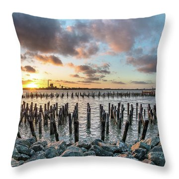 Throw Pillow featuring the photograph Pylons Mill Sunset by Greg Nyquist