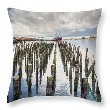 Pylons To The Ship Throw Pillow by Greg Nyquist