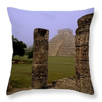 Pyramid At Chichen Itza Throw Pillow