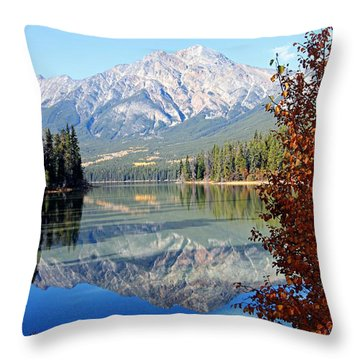 Pyramid Mountain Reflection 3 Throw Pillow by Larry Ricker