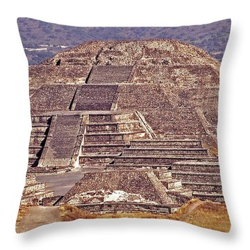 Pyramid Of The Sun - Teotihuacan Throw Pillow by Juergen Weiss