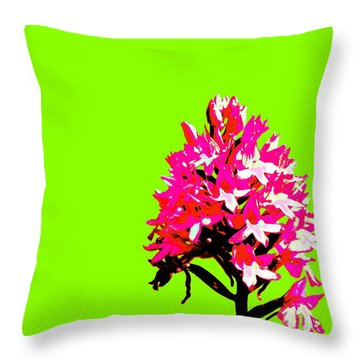 Green Pyramid Orchid Throw Pillow