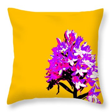 Orange Pyramid Orchid  Throw Pillow