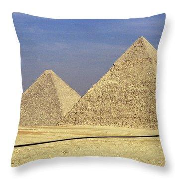 Pyramids At Giza Throw Pillow by Mark Greenberg