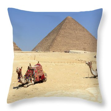 Throw Pillow featuring the photograph Pyramids Of Giza by Silvia Bruno