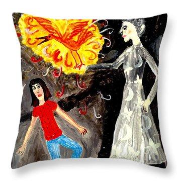 Pyro The Firebird Throw Pillow by Sushila Burgess