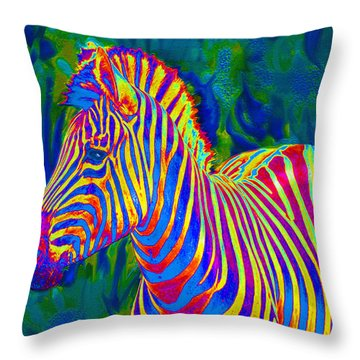 Pyschedelic Zebra Throw Pillow by Jane Schnetlage