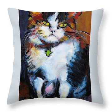 Throw Pillow featuring the painting Pywacket by Les Leffingwell
