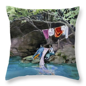 Laundry Day Throw Pillow by Kris Parins
