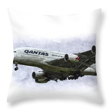 Qantas Airbus A380 Art Throw Pillow