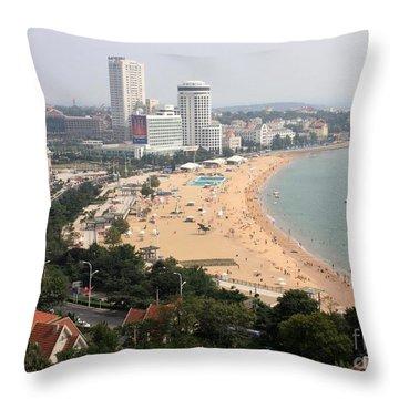 Qingdao Beach With Skyline Throw Pillow by Carol Groenen
