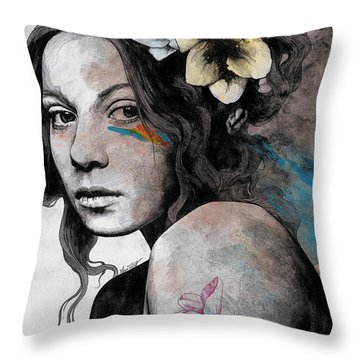 Qohelet - Young Lady With Freesias Tattoos Throw Pillow