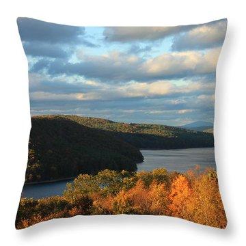 Quabbin Reservoir Foliage View Throw Pillow