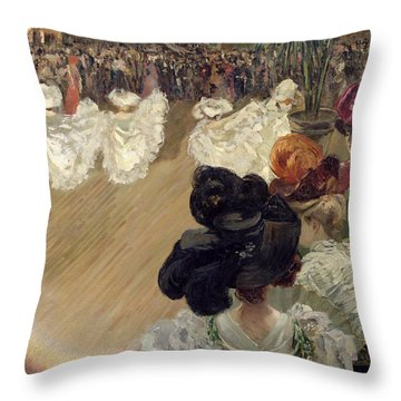 Quadrille At The Bal Tabarin Throw Pillow by Abel-Truchet