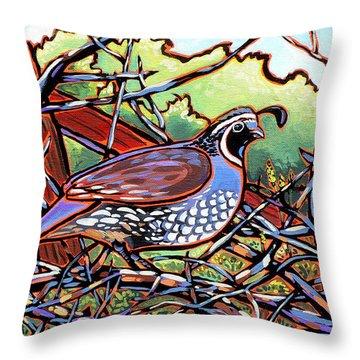Quail Throw Pillow by Nadi Spencer
