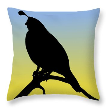 Quail Silhouette At Sunrise Throw Pillow