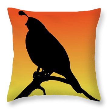 Quail Silhouette At Sunset Throw Pillow