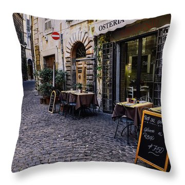 Quaint Cobblestones Streets In Rome, Italy Throw Pillow