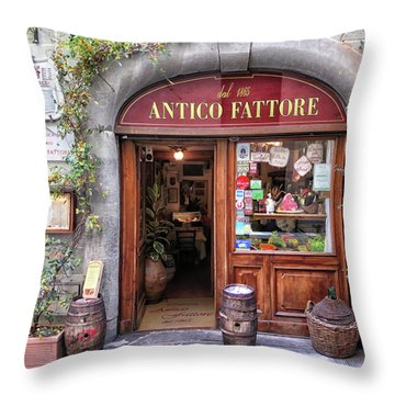 Quaint Restaurant In Florence Throw Pillow