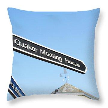 Quaker Meeting House Sign Throw Pillow