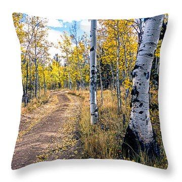 Aspens In Fall With Road Throw Pillow
