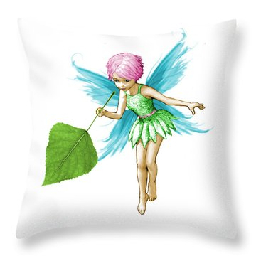 Quaking Aspen Tree Fairy Holding Leaf Throw Pillow