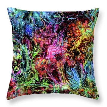 Throw Pillow featuring the digital art Qualia's Garden Spring by Russell Kightley