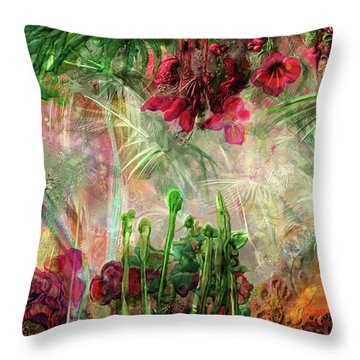 Throw Pillow featuring the digital art Qualia's Jungle by Russell Kightley