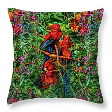 Throw Pillow featuring the digital art Qualia's Parrots by Russell Kightley