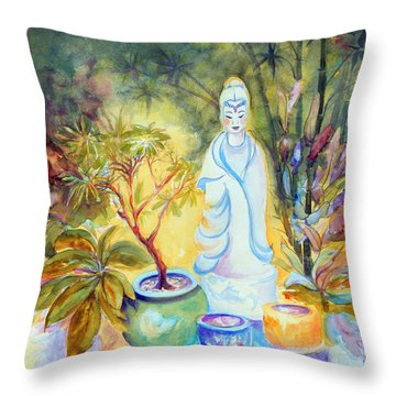 Quan Yin Garden Throw Pillow