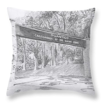 Throw Pillow featuring the drawing Quantico Welcome Graphite by Betsy Hackett
