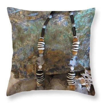 Quartz Agate Set In Gourd Wood #d134 Throw Pillow