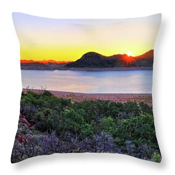 Quartz Mountains And Lake Altus Panorama - Oklahoma Throw Pillow