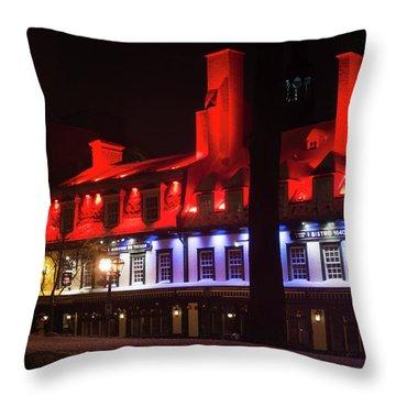 Quebec City At Night Bistro 1640 Throw Pillow
